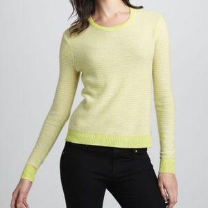 Rebecca Taylor Stripe Cashmere Sweater Small Green